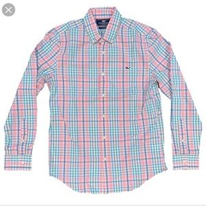 Vineyard Vines Whale Button Down Plaid Pink Teal